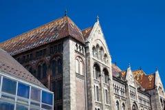 Piękny antykwarski budynek Krajowi archiwa Węgry fotografia stock