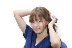 Piękny azjatykci dziewczyna profil z konika ogonem nad białym backgroun zdjęcie stock