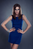 piękny błękit sukni dziewczyny portret Fotografia Stock