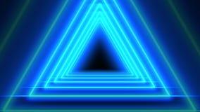 Piękny Błękitny Abstrakcjonistyczny Neonowy trójboka tło 4k ilustracja wektor