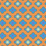 Piękny błękitny i pomarańcze dekorowaliśmy Marokańskiego bezszwowego wzór z kolorowymi kwiecistymi projektami royalty ilustracja