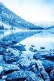 Piękny błękitny jezioro w górach Mieszkania lustra powierzchnia woda pod chmurami obrazy royalty free