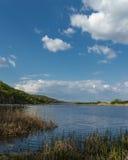 Piękny Błękitny jezioro z żółtą trawą w przedpolu i niebieskim niebem z chmurami Fotografia Stock