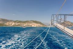 Piękny błękitny morze za burtą statek Obraz Royalty Free