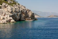 Piękny błękitny morze za burtą statek Zdjęcie Royalty Free