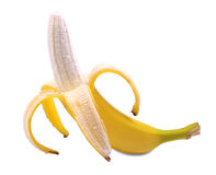 Piękny banan strugający w połówce Smaczny otwarty banan odizolowywający na białym tle Egzotyczne i tropikalne lato owoc Obrazy Royalty Free