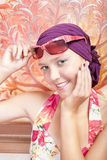 piękny barwiony dziewczyny gwoździ ja target1031_0_ Fotografia Royalty Free