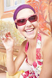 piękny barwiony dziewczyny gwoździ ja target1894_0_ Fotografia Stock