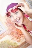 piękny barwiony dziewczyny gwoździ ja target2354_0_ Fotografia Stock
