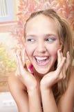 piękny barwiony dziewczyny gwoździ ja target3385_0_ Zdjęcia Royalty Free