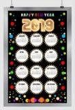 Piękny barwiony okręgu kalendarz dla nowego roku 2019 Szczęśliwy nowy rok 2019 ()- Wektor kartoteka ilustracja wektor
