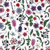 Piękny bezszwowy kwiecisty wzór z jagodami, ziele i kwiatami w doodling stylu, ilustracja wektor