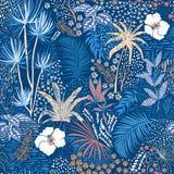 Piękny bezszwowy tropikalny lato lasu wzór na błękicie z p ilustracja wektor