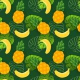 Piękny bezszwowy wektorowy kwiecisty lato wzór z bananami, ananasami i tropikalnymi liśćmi, royalty ilustracja
