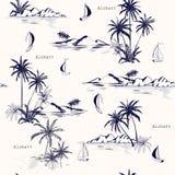 Piękny bezszwowy wyspa wzór na białym tle Krajobraz ilustracja wektor