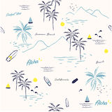 Piękny bezszwowy wyspy patternon bielu tło Zdjęcie Stock