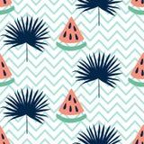 Piękny bezszwowy wzór z arbuzem i tropikalnym liściem Zdjęcia Stock
