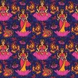 Piękny bezszwowy wzór z indyjską boginią Lakshmi i Paisley ornamentem Zdjęcia Stock