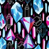 Piękny bezszwowy wzór z kolorowymi kryształami Zdjęcia Royalty Free