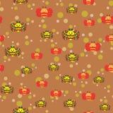 Piękny bezszwowy wzór z pszczołami i barwionymi piłkami ilustracji