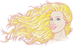 piękny bieżący włosy Obrazy Stock