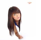 piękny billboardu pustego miejsca dziewczyny mienia ja target959_0_ zdjęcia royalty free
