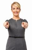 Piękny bizneswoman Wskazuje Przy Tobą Obrazy Stock