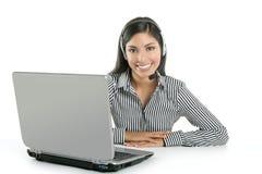 piękny bizneswomanu słuchawki target2258_0_ Obraz Royalty Free