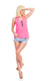 Piękny blond moda modela pozować Zdjęcie Royalty Free