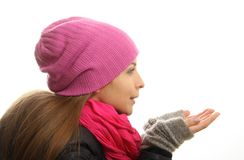 Zimy dziewczyny portret odizolowywający na białym tle. fotografia stock