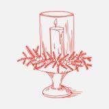 Piękny bożego narodzenia candlestick ilustracja wektor