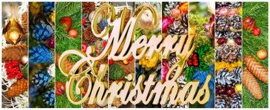 Piękny Bożenarodzeniowy kolaż różnorodni wakacyjni symbole zdjęcia royalty free
