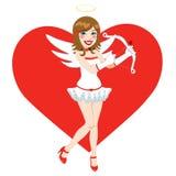 Piękny brunetka anioła amorek royalty ilustracja