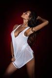 Piękny brunetki kobiety pozować. Obrazy Royalty Free