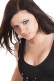 piękny brunetki zakończenia portret w górę kobiety Fotografia Royalty Free