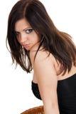 piękny brunetki zakończenia portret w górę kobiety Obrazy Royalty Free