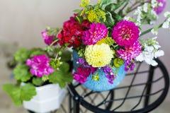 Piękny bukiet chryzantemy kwitnie w błękitnej wazie Zdjęcia Royalty Free