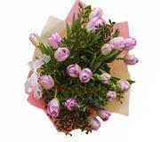 piękny bukiet odizolowywający różowi tulipany biały Zdjęcie Stock