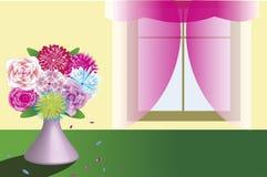 Piękny bukiet w wazowej pozyci blisko nadokiennego szablonu ilustracja wektor