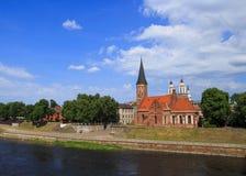 Piękny bulwar w Kaunas Lithuania stary miasteczko fotografia stock
