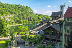 piękny castkill domu mohonk klifu liści czasu szczytu góry jeziora doliny szeroki widok Zdjęcie Royalty Free