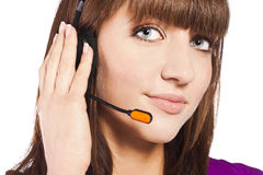 piękny centrum telefonicznego pracownika portret Fotografia Royalty Free