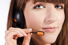 piękny centrum telefonicznego pracownika portret Zdjęcia Royalty Free