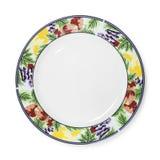 Piękny ceramiczny naczynie odizolowywający na białym tle Projekta talerz w owoc wzoru stylu ?cinek ?cie?ka obraz stock