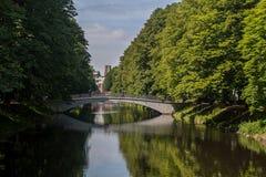 Piękny Clarenbach kanał w gromadzkim Lindentha Obraz Stock