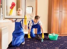 Piękny cleaning servise dywan i okno w pokoju obraz stock