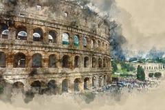 Piękny Colisseum - imponująco Colosseum Rzym royalty ilustracja