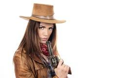 Piękny cowgirl z pistoletem obrazy stock