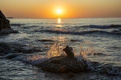 Piękny Czarny Denny wschód słońca w Ravda Zdjęcia Stock
