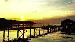 Piękny czasu upływ blisko jetty przy Jelutong Penang Malezja zdjęcie wideo